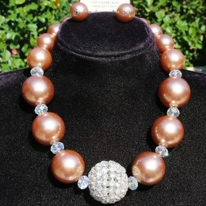 Chunky Boho Faux Pearl Bronze Necklace Earring Set